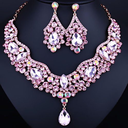 Necklace Earring Set - Baby Pink