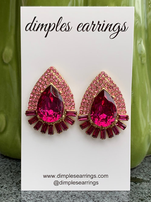 Pink Interview Studs Pageant Jewellery Dimples Earrings Australia