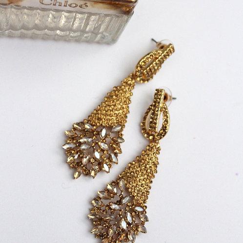 Gold Pageant Earrings, Gold Drop Earrings, Dimples Earrings