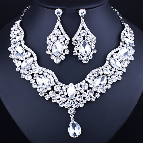 Necklace Earring Set - Clear