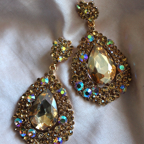 Gold and AB Crystal Rhinestone Large Drop Pageant Formal Earrings Gold Jewellery Dimples Earrings