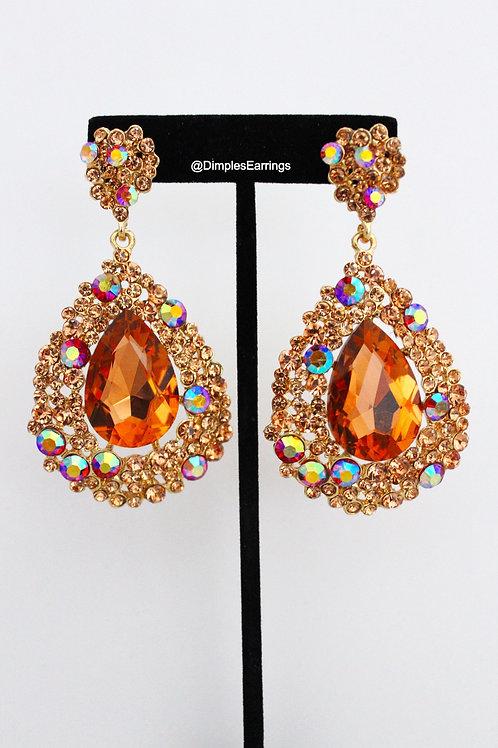 Large Peach AB Earrings Dimples