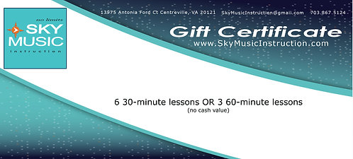 6 30-minute lessons OR 3 60-minute lessons: (10% Discount) GIFT CERTIFICATE