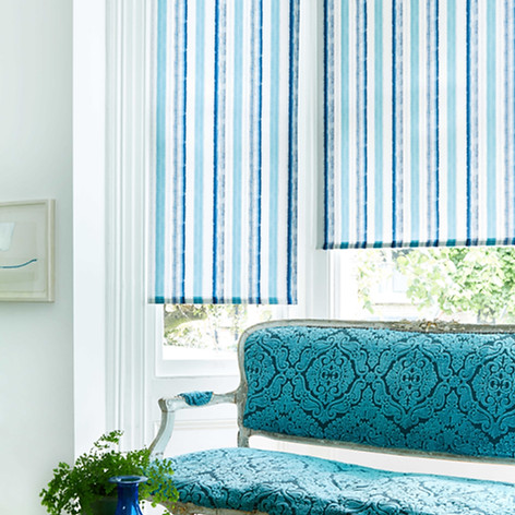Blue and wite stripped patterned roller blind design