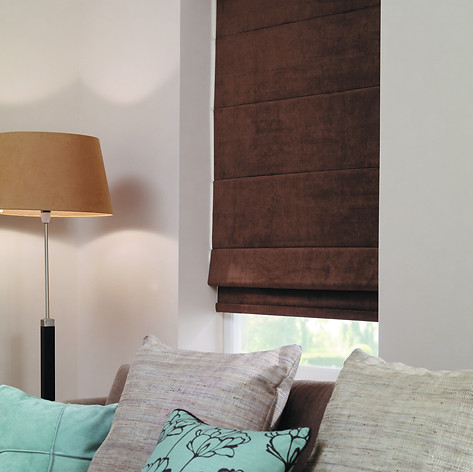 Brown roman blind