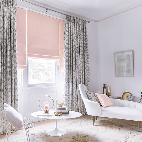 Light pink roman blinds