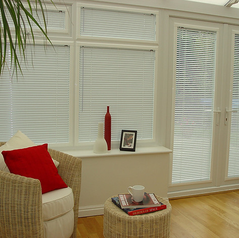 Light gray venetian perfect fit blinds