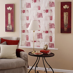 Wite and pink roman blind