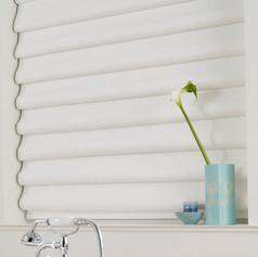 White roman blinds