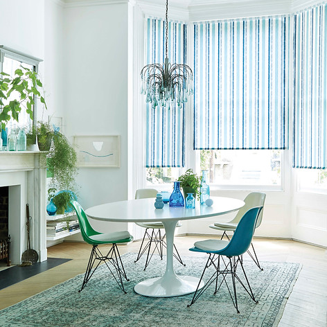 Blue and white striped blinds