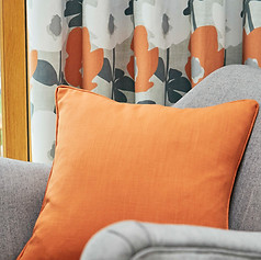 Orange and gray curtains