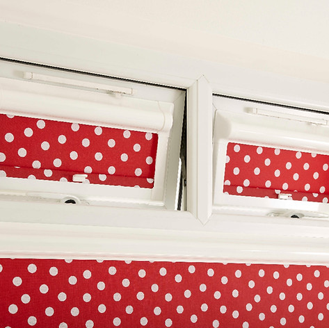 Red and white polka dot patterned perfect fit blinds