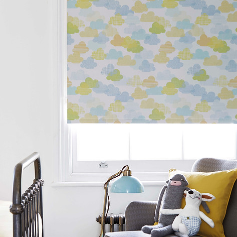 Coloured cloud patterned roller blinds