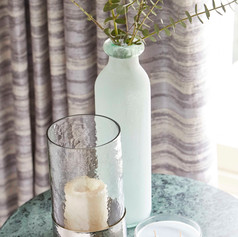 Brown and cream striped curtains