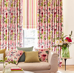 Striped pink roman blinds