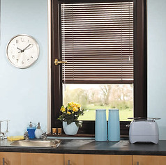 Brown wooden perfect fit blinds