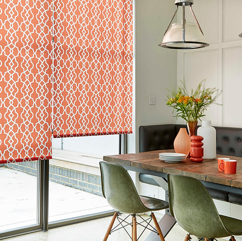 Orange patterned roller blinds