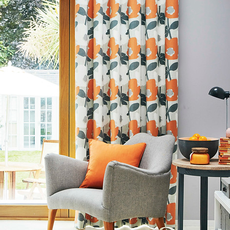 Orange and gray and white curtains