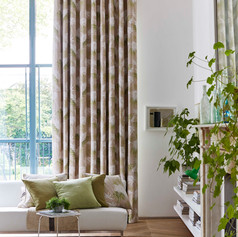 Brown and cream patterned curtains
