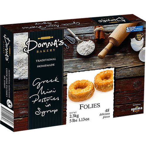 """DOMNA'S BAKERY Greek Mini Pastries in Syrup """"FOLIES"""" 5lb 1.13oz"""