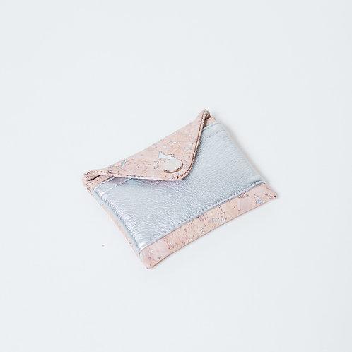 Mini Geldbörse Kork Partikel silber - silber
