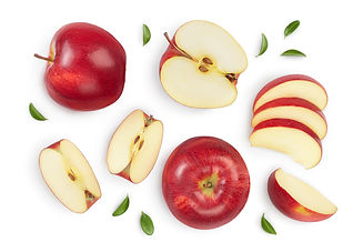 Red apple with half isolated on white ba