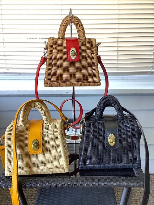 Small Straw Handbags with Leather Straps