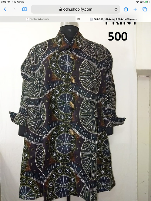 Big Button Down Tunic/Dress with Pockets (Print #500)