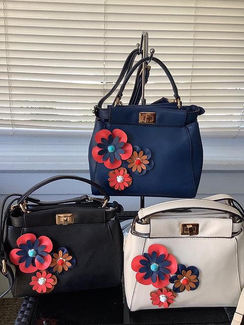 Small Handbags with Flower Embellishment