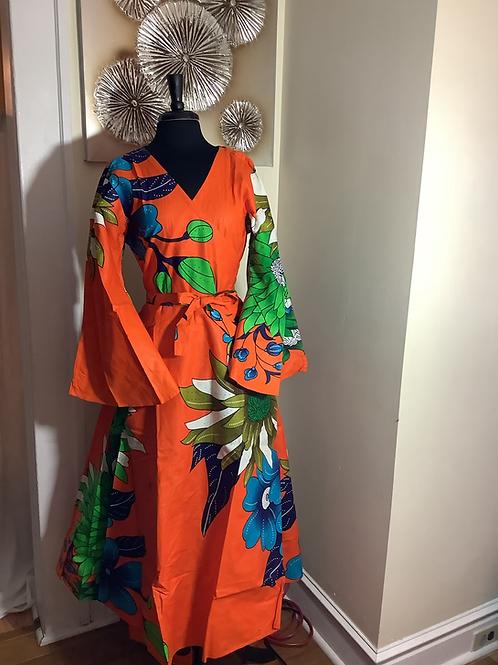 Orange Bold Floral Print Warp Dress with Head Wrap