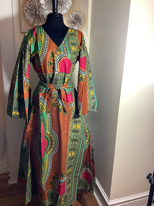 Multi Color African Print Wrap Dress with Head Wrap