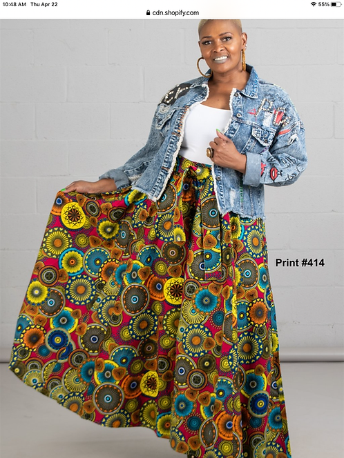 African Print Maxi Skirt with Matching Head Wrap (Print #414)