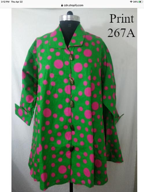 Green & Fuchsia Big Button Down Tunic/Dress with Pockets (Print #267-A)