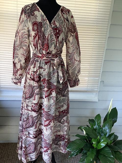 Beige and Burgundy Print Wrap Dress