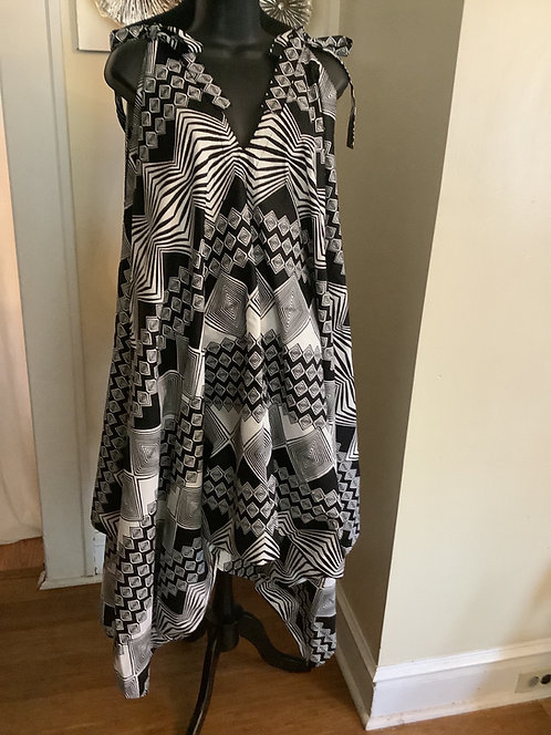Black & White Geometric Print Jumpsuit with Shoulder Tie Straps and Pockets