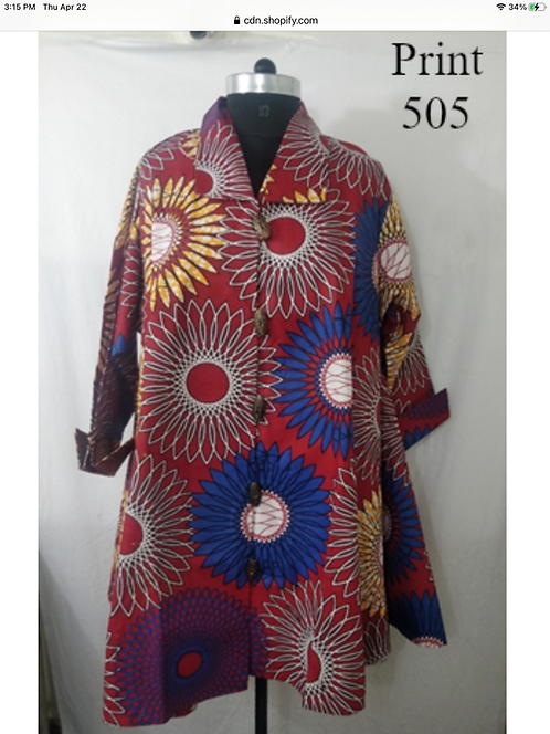 Multi Color Big Button Down Tunic/Dress (Print #505)