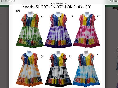 Ava Short Sleeve Tie-Dye Knee Length Sundresses