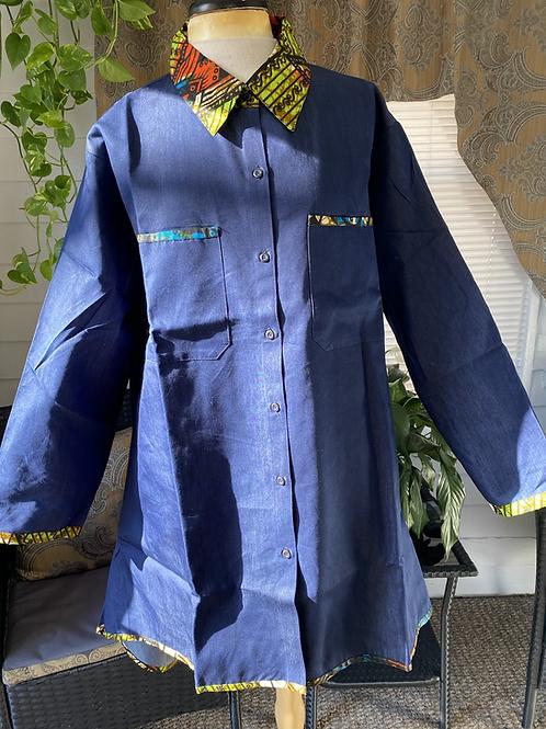All Denim Tunic/Shirt Dress Trimmed w/African Print