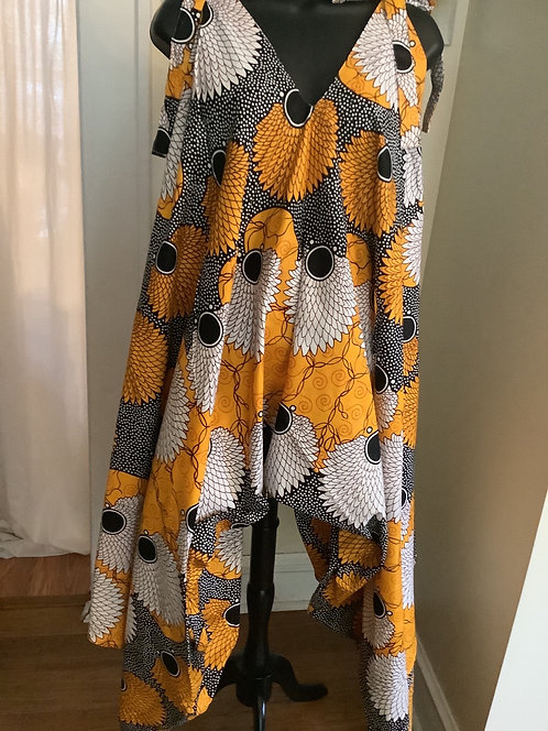 Multi Print Jumpsuit with Shoulder Tie Straps and Pockets
