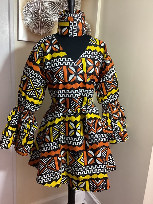 African Print Multi Color Wrap Tunic/Dress with Headwrap