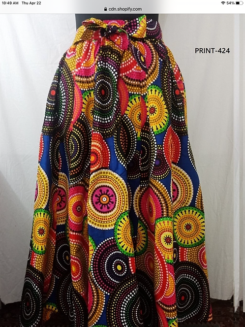 African Print Maxi Skirt with Matching Head Wrap (Print #424)