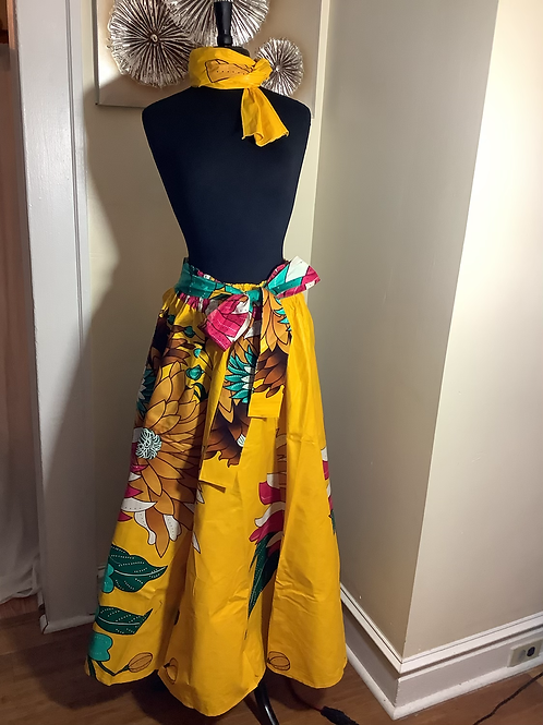 Yellow Bold Floral Print Maxi Skirt with Head Wrap