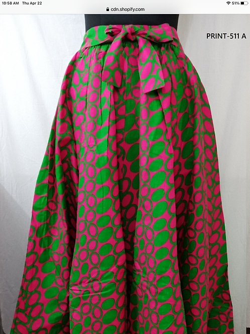 African Print Maxi Skirt with Matching Head Wrap (Print #511 A)