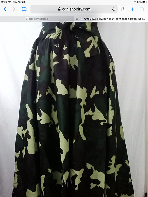 Camouflage Maxi Skirt with Matching  Head Wrap (Print #340 A)