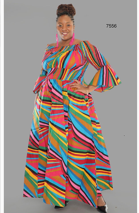Print Bell Sleeve Maxi Dress with Matching Head Wrap