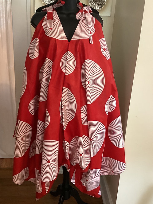 Red & White Circle Print Jumpsuit with Shoulder Tie Straps and Pockets