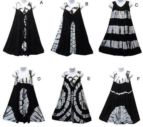 Marble Print Short Sleeve Assorted Back & White Maxi Sundresses