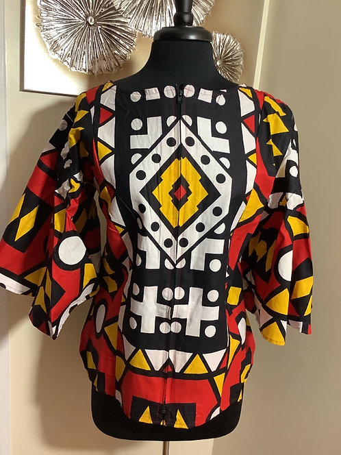 Geometric Print Top with Zippered Front and Elastic Back Bodice