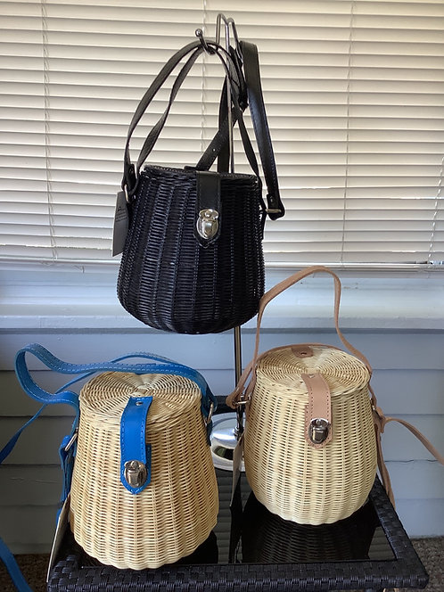 Barrel Straw Handbags with Leather Straps