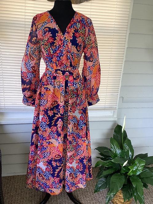 Coral Multi Color Wrap Maxi Dress